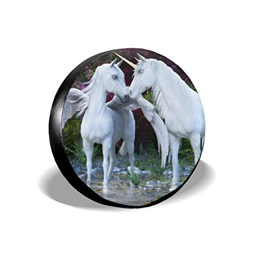 Yushg Fantasy Mythical White Unicorn Pegasus Enchanted Fun Copertura degli Pneumatici Jeep Liberty Copertura degli Pneumatici di Ricambio Copertura degli Pneumatici Impermeabile UV Sun 14'- 17' M