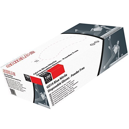 Shield Extra Large Nitrile Gloves. Powder Free - Box of 100 by SHIELD
