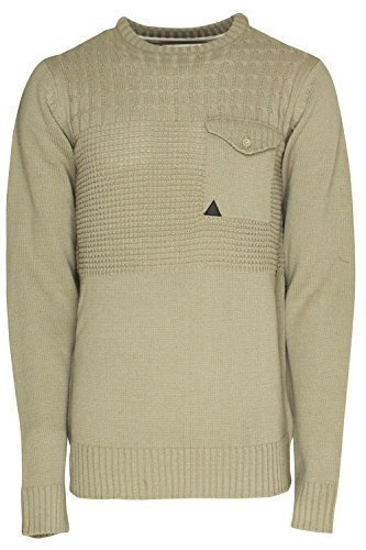 Soulstar Hommes Pull Tricot Manche Longue Chaude Adultes Tricot Épais Pull Nicole - Taupe