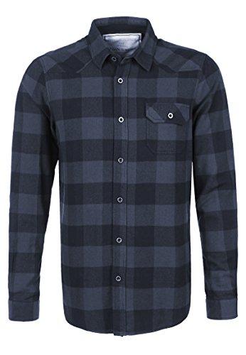 Urban Surface Herren Flanellhemd Langarm Kariert | Business- & Freizeithemd Aus Baumwolle Regular Fit Dark-Blue M (Hemd Karo Flanell)