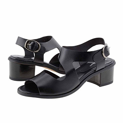 Smooth strisce di sandali di cuoio Misure: 38 Colore: NERO