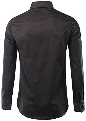 jeansian Herren Freizeit Hemden Casual Long Sleeves Slim Fit Fashion Leisure Printing Dress Shirts Tops 84H4 Black