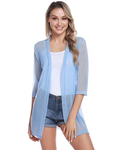 Sykooria Damen Strickjacke Langarmshirt 3/4 Ärmel Loose Fit Mesh Einfarbig Hautfreundlich Leichte Outwear Strickjacke Blau - 3/4-Ärmel-leichte Pullover