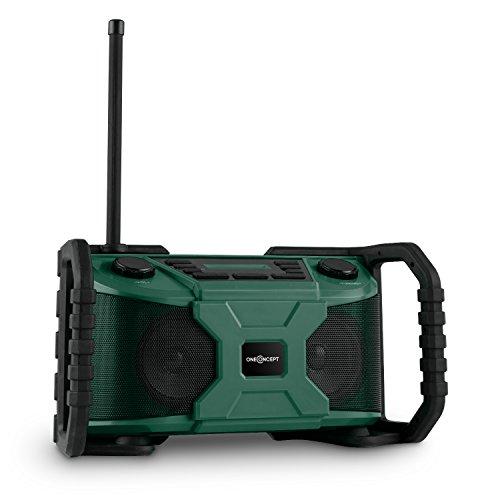 oneConcept Worksite • Baustellenradio • Baustellenlautsprecher • Bluetooth Lautsprecher • AUX • DAB+ • UKW • USB-Port • Timer- und Weckfunktion • witterungsfest • Netz- oder Batteriebetrieb • grün