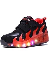 Mr.Ang Hombres y Mujeres Unisex LED Luz Parpadea Ruedas Zapatillas Auto-párrafo Roller Zapatos Patines Deportes Zapatos Correr Para adulto