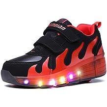 Mr.Ang Niños Zapatillas con Ruedas LED Sola Ronda Para Skate Zapatos Deportivas con Luces Niñas Zapatos con Ruedas Led Mujer