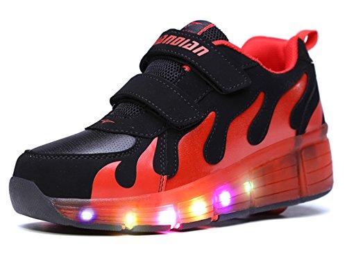Mr.Ang Unisex LED Licht 7 Farbe Farbwechsel Sneaker Skate Shoes Schuhe Rollen Verstellbare Schlittschuhe Skateboard Lnline Sneaker Einzelnes Rad Jungen Mädchen Kinder