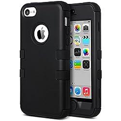 ULAK Coque iPhone 5c, iPhone 5c Case Housse de Protection Anti-Choc Matériaux Hybrides en Silicone Souple et PC Dur Coque pour Apple iPhone 5c (Noir)