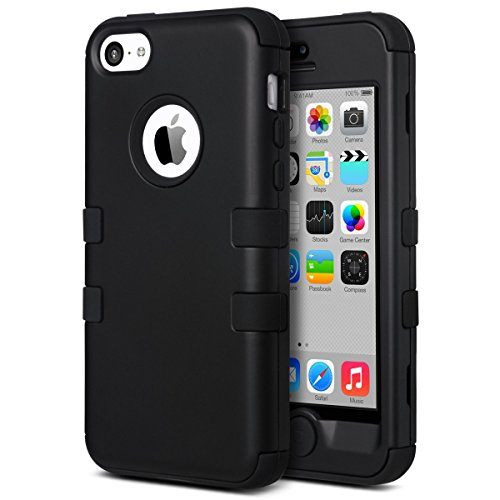ULAK iPhone 5c Hülle, iPhone 5c Case 3 Layer Hybrid Combo Innere Weiche Silikon Hart Plastik Anti-stoß Schutzhülle Tasche Case Cover für Apple iPhone 5c (Schwarz)