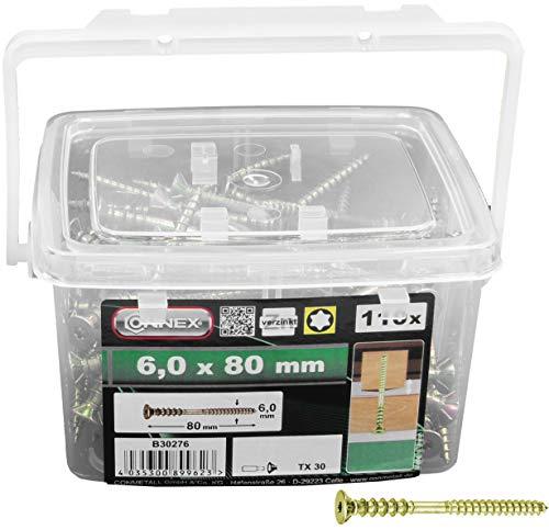 Connex Justierschrauben 6,0 x 80 mm - 110 Stück in praktischem Kunstoff-Eimer - Senkkopf - TX Torx-Antrieb - Gelb verzinkt / Verlegeschrauben / Distanzschrauben / Schrauben-Eimer / B30276