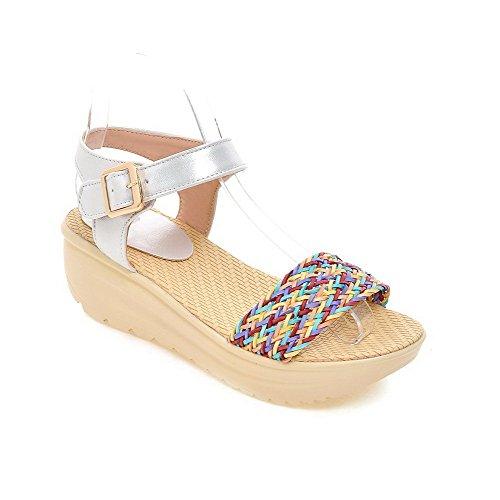 VogueZone009 Donna Punta Aperta Tacco Medio Finta Pelle Scamosciata Heeled-Sandals Argento