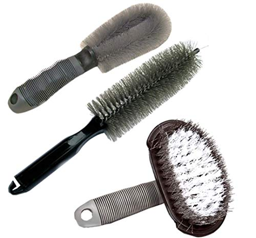 KJLM Set di spazzole per la Pulizia delle Ruote per Auto Spazzola per Cerchioni Lega di Pneumatici spazzole per Pneumatici per Moto o Biciclette