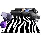 ZWD Striped Carpet, Wohnzimmer Schwarz Weiß Teppich Sofa Tee Tisch Teppich Unregelmäßigen Streifen Leicht Zu Reinigen Haushal (Farbe : A, größe : 120 * 160cm)