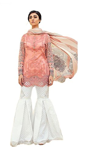 Madeesh Pakistani Suit for Women, Party Wear, Fully Printed Cambric Cotton Top, Silfy Work Sleeves, Embroidery Patch Work Ghera, Printed Bottom with embroidery work, Printed Chiffon Dupatta, SUMMER PA