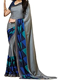 Macube Women's Georgette Printed Saree With Blouse Piece
