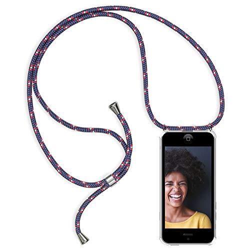Zhinkarts Handykette kompatibel mit Apple iPhone 5 / 5S / SE - Smartphone Necklace Hülle mit Band - Schnur mit Case zum umhängen in Navy - Blau