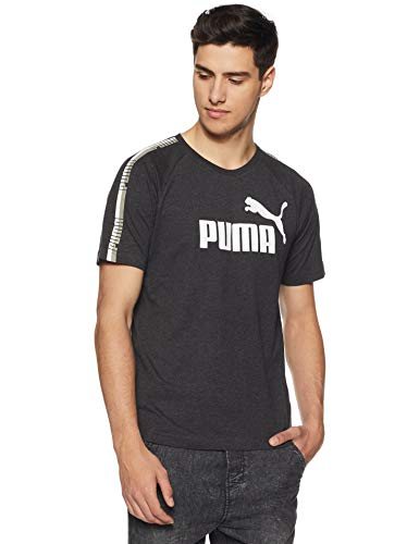 Puma Herren Tape Logo Tee T-Shirt, Dark Gray Heather, L - Dark Heather T-shirt