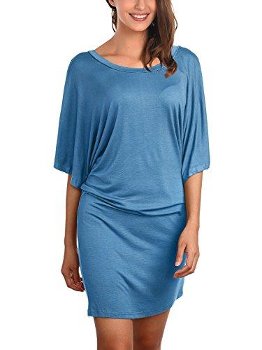 DJT Damen Rundkragen Kurzarm Bluse Fledermaus Batwing T-Shirt Tops Blau
