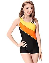 598704d1626486 Cokar Schwimmanzug mit Bein Frauen Einteiler Sportlicher Badeanzug  Figurformend Boyleg Bademode Hotpants