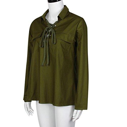 WOCACHI Damen Reizvolle Frauen tiefe V AnsatzOberseitenbeiläufiges langes  Hülsen Spitze oben Blusen TShirt Armeegrün Armeegrün