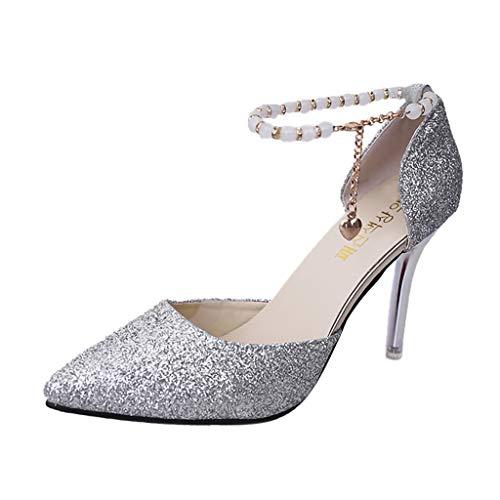 Mymyguoe Damen High Heels Pumps Shimmer Glam Pailletten verziert Sparkle spitz Flacher Mund Schuhe Feine Ferse Bequem hochhackige Schuhe Sandaletten mit Pfennigabsatz (PU Silber, EU-38/CN-39) -