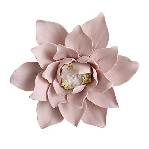 ALYCASO blühenden Blumen Keramik Pediments TV Wand Décor 3D Handgefertigte wandbehängen Zimmer Ornaments Home Dekoration Kunst L- 4.7 in Magnolia Pink -