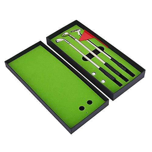 BeneU Mini Golfballs Spielzeug Portable Desktop Golf Kugelschreiber Flag Set Geschenk Mini Desktop Golf Ball Pen Geschenkset mit Putting Green Flag 3 Farben Metall Golf Clubs Modelle Kugelschreiber -