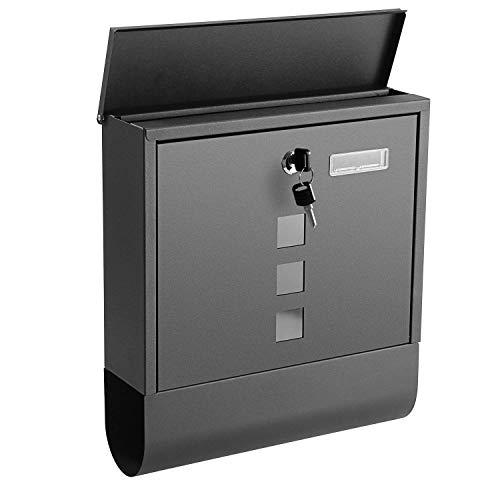 Voluker Boîte aux Lettres Noire 340 x 300 x 85 mm, Acier inoxydable
