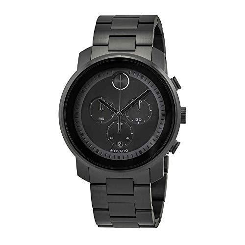 Movado Men's Bold 44mm Black Steel Bracelet & Case Quartz Analog Watch 3600472