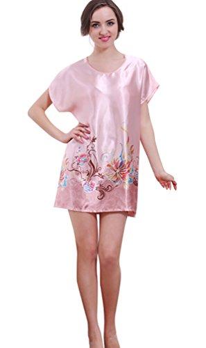 NiSeng donna camicie da notte estate manica corta stampa colorato pigiami di seta Pink 1