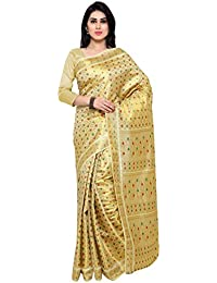 Varkala Silk Sarees Women's Art Silk Banarasi Saree With Blouse Piece(ND1101CM_Cream_Free Size)