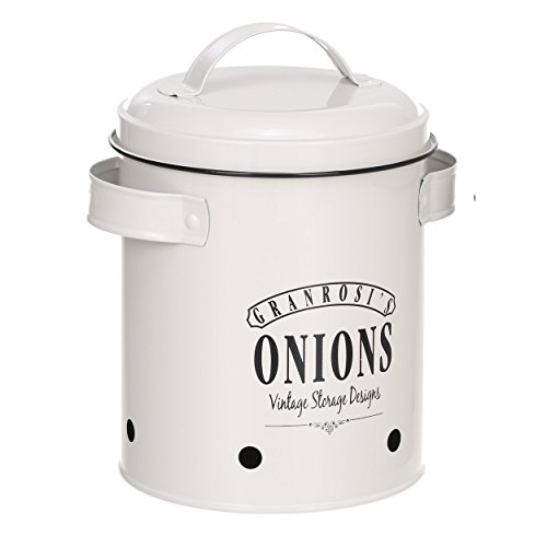 GranRosi Zwiebeltopf - geräumiger Behälter im 40er Jahre Vintage Design für eine stilvolle Zwiebel Aufbewahrung