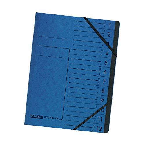 Falken Premium Ordnungsmappe aus extra starkem Colorspan-Karton DIN A4 12 Fächer und 2 Gummizüge mit Organisationsdruck blau Ringmappe Register-Mappe ideal fürs Büro und die mobile Organisation