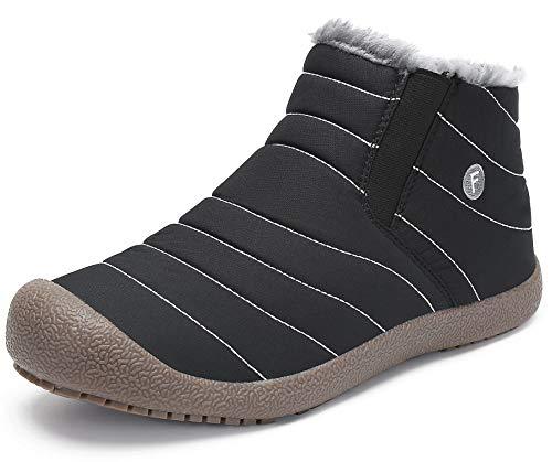 katliu Damen Herren Winterschuhe Warm Gefüttert Winterstiefel Rutschfest Winter Boots Outdoor Leicht Schnee Schuhe für Frauen Männer,Schwarz 42