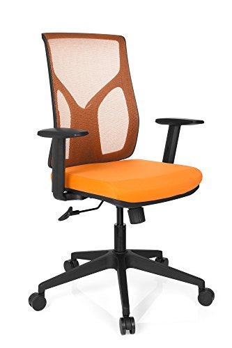 HJH Office 731150Sedia da ufficio Turan tessuto di rete arancione, ergonomico, con supporto lombare, Tessuto A Rete Traspirante, braccioli con regolazione di altezza, stabile, motivo moderno, Sedia Lavoro