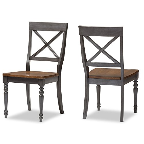 Baxton Studio 2 Piece Denise Shabby Chic Country Cottage Weathered Dove Grey Dining Side Chair Set