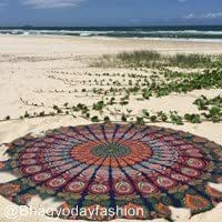 Multi Color Peacock Mandala Tapestry, Feather Peacock Wall Hanging, Boho Beach Blanket, Dorm Bedding, Cotton Handmade Bedding Bedspread, Feather Pattern Indian Tapestry, Cotton Tablecloth Beach Towel, Round Yoga Mat, 70 Inch. By Bhagyoday by BhagyodayFashions