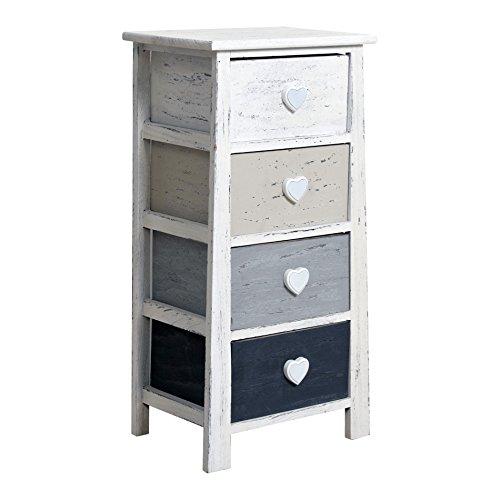 Rebecca srl cassettiera mobiletto comodino 4 cassetti rebecca romantica legno bianco beige marrone shabby chic retro soggiorno camera bagno (cod. re4370)
