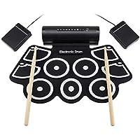 LQH - Esterilla eléctrica Drum Mat Ndash; portátil enrollado en el instrumento de música, alfombrilla digital para principiantes y niños – Aprender a reproducir y grabar los latidos propios