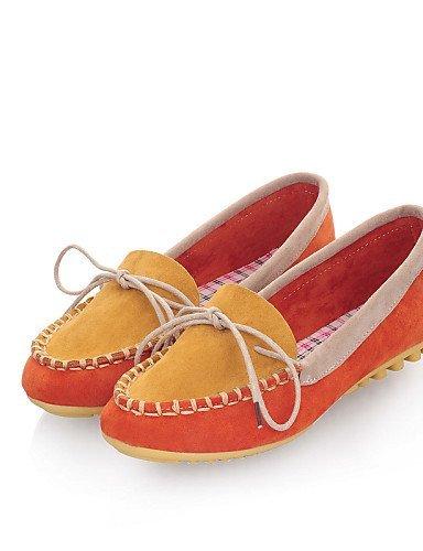 ShangYi gyht Scarpe Donna-Ballerine-Casual-Punta arrotondata-Piatto-Finta pelle-Blu / Giallo / Rosa / Arancione Yellow