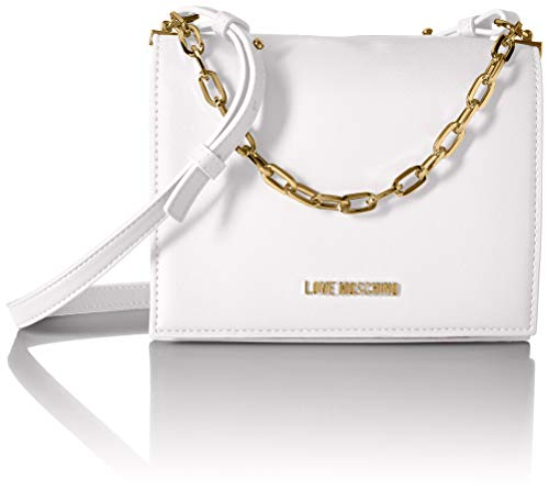 Love Moschino Damen Borsa Smooth Pu Umhängetasche Weiß (Bianco) 8x15x21 centimeters