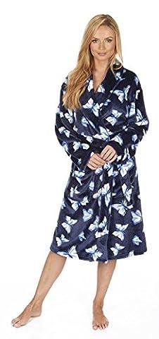 Ladies Women's Super Soft Fleece Plush Butterfly Dressing Gown Robe Nightwear UK
