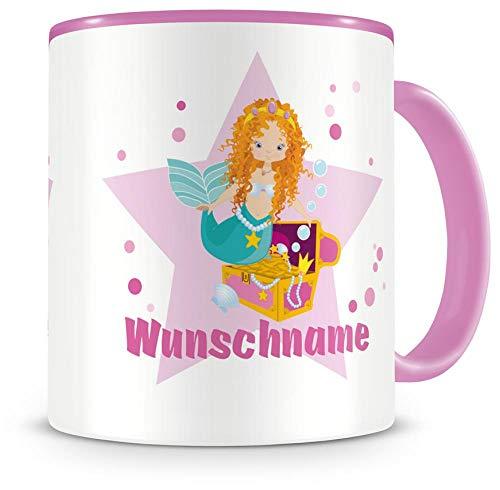 Samunshi Kinder-Tasse mit Namen und einer Meerjungfrau als Motiv Bild Kaffeetasse Teetasse Becher...