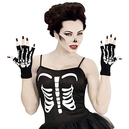 Amakando Kurze Handschuhe fingerlos Gerippe / Schwarz-Weiß / Knochen-Handstulpen ohne Finger / Passend gekleidet zu Gruselparty & Karneval
