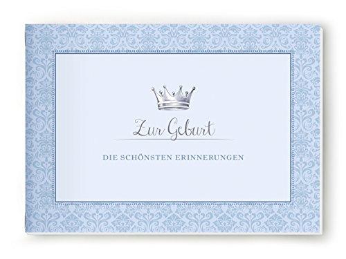 A5-KREATIV-DIY-BCHLEIN-geheftet-Zur-Geburt-DIE-SCHNSTEN-ERINNERUNGEN-Nostalgisches-Bchlein-mit-schner-illustrierter-Krone-in-blau--Kleines-Einschreibbuch-fr-deine-schnsten-Erinnerungen-zur-Geburt--Vie