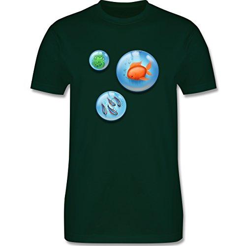 Sonstige Tiere - Aquarium Bubbles Fische - Herren Premium T-Shirt Dunkelgrün