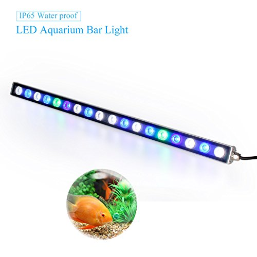 Roleadro luce led acquario 54w,lampada acquario striscia impermeabile ip65,18 led illuminazione acquario con verde blu e uv led per acquario pesci/corallo/piante 55cm