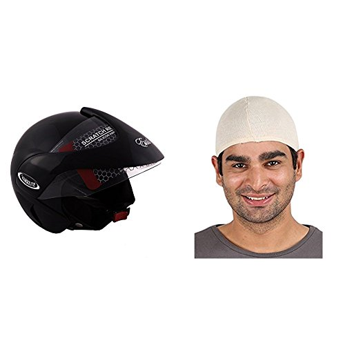 Autofy Habsolite Estilo Glossy Flip Up Helmet (Black, M) and Autofy Unisex Multipurpose Hair Protector Dust Pollution Skull Cap (Biege) Bundle