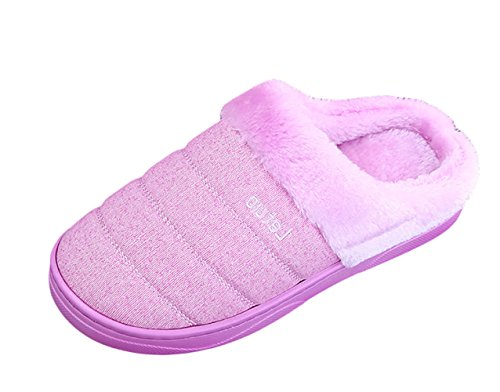 Icegrey Pantofole da Uomo Donne Inverno A Righe di Riscaldamento del Modello della Peluche Vello Casa Pantofola Viola