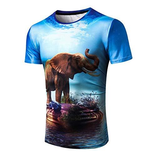 WHLTX Moda 3D Lakeside Elefante Impresión De Gran Tamaño De Los Hombres Camiseta Redonda Cuello Redondo, Color De La Imagen, L